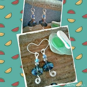 🐳 SEASHELL BEAD & WIRE WRAP EARRINGS 🐳